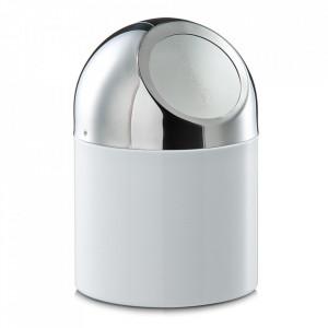 Cos de gunoi alb/argintiu din inox pentru birou 12x18 cm Cory Zeller