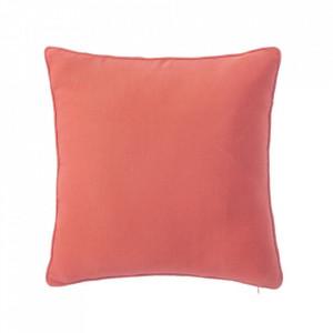 Perna decorativa patrata rosu corai din poliester si bumbac 45x45 cm Loving Colours Unimasa