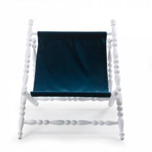 Sezlong pliabil cu cadru din lemn alb Heritage Blue Seletti