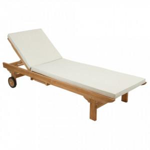 Sezlong din lemn tec cu perna alba Garden Santiago Pons