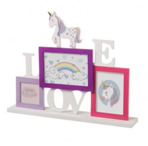Rama foto multicolora din MDF si sticla pentru 3 fotografii 33x42 cm Love Unicorn Unimasa