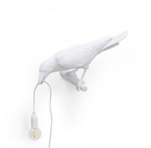 Aplica alba din rasina pentru exterior Bird Looking Left Seletti