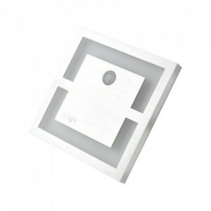 Aplica argintie/alba din aluminiu si plastic Adara L Milagro Lighting