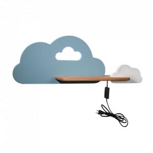 Aplica cu raft multicolora din lemn de fag si MDF cu LED Cloud Switch Blue White Candellux