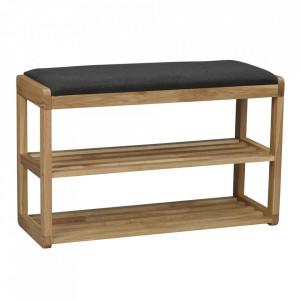 Bancheta cu suport pentru incaltaminte maro din lemn de stejar si textil 80 cm Methro Rowico Home