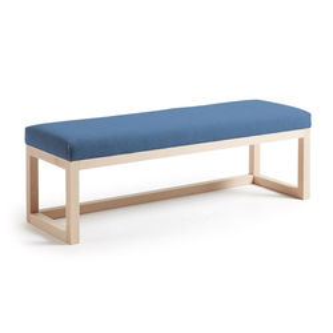 Bancheta din lemn si textil albastru Dark Blue Yola La Forma
