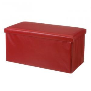 Bancheta rosie din MDF si piele 76 cm Tudor Unimasa
