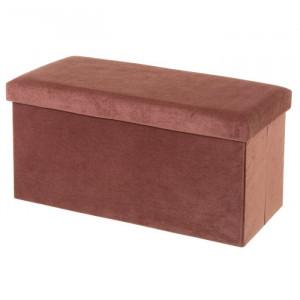 Bancheta rosu corai din MDF si catifea 76 cm Tucker Unimasa