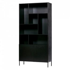 Biblioteca neagra din lemn de pin 200 cm Gravure Woood