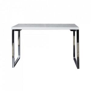 Birou alb/argintiu din MDF si metal 60x120 Gloss Invicta Interior