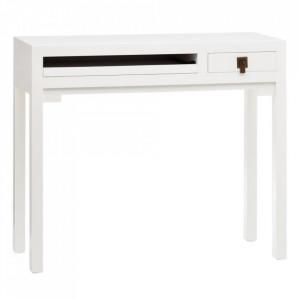 Birou alb din lemn de brad si MDF 30x95 cm Mimola Ixia