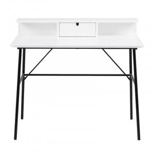 Birou alb/negru din MDF si metal 55x100 cm Pascal Actona Company