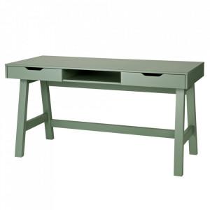 Birou verde din lemn de pin 62x140 cm Nikki Woood