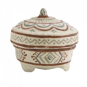Bol decorativ cu capac crem din hartie 20 cm Tribal Madam Stoltz