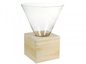 Bol din sticla si lemn 40 cm Triangle Santiago Pons