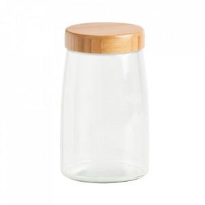 Borcan cu capac transparent/maro din sticla si lemn 1,6 L Lou Zeller