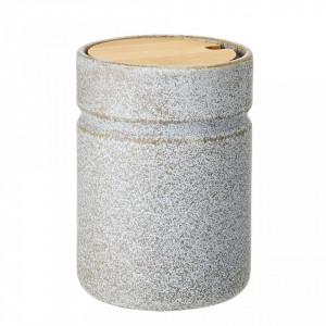 Borcan gri din ceramica cu capac lemn 850 ml Hazel Bloomingville