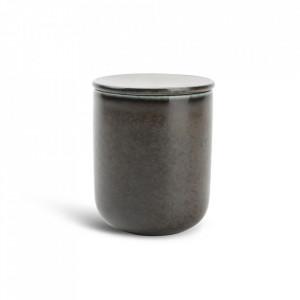 Borcan negru din portelan cu capac 170 ml Ceres Fine2Dine