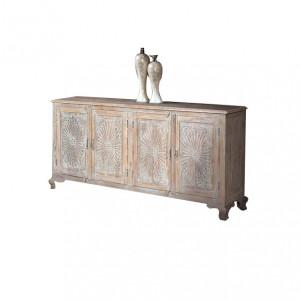 Bufet inferior maro/alb din lemn de tec 185 cm Madden Giner y Colomer