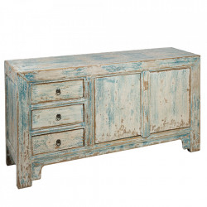 Bufet inferior maro/albastru din lemn de ulm 145 cm Vindra Santiago Pons