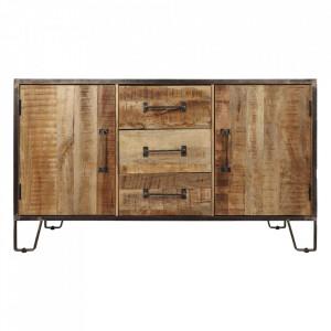 Bufet inferior maro/negru din lemn si fier 150 cm Hayward HSM Collection