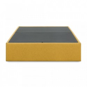 Cadru pat galben mustar din lemn si textil cu spatiu pentru depozitare 160x200 cm Matters Mustard La Forma