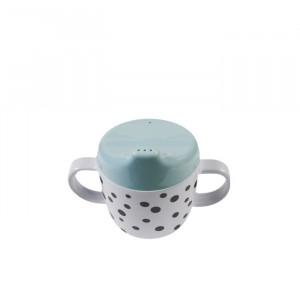 Cana albastra cu capac pentru bebelusi din melamina 170 ml Dots Blue Black Done by Deer