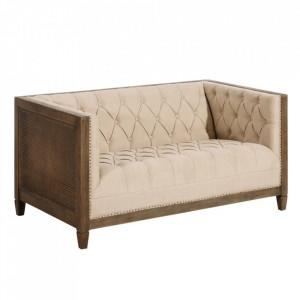 Canapea bej din in si lemn de stejar pentru 2 persoane Minimbah Denzzo