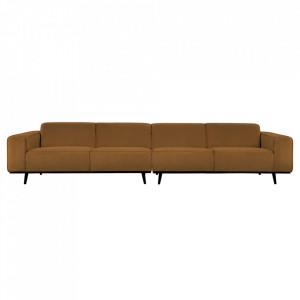 Canapea bej unt/neagra din poliester si lemn pentru 4 persoane Statement Boucle Extra Be Pure Home