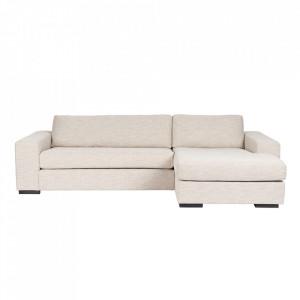 Canapea crem din poliester si lemn de pin cu colt pentru 2 persoane Fiep Right Latte Zuiver