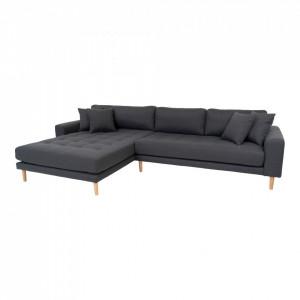 Canapea cu colt gri inchis din poliester 290 cm Lido Left House Nordic