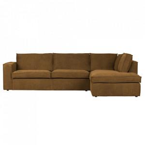 Canapea cu colt maro bronz din poliester 283 cm Freddie Right Woood