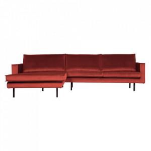Canapea cu colt maro castana din catifea 300 cm Rodeo Left Be Pure Home