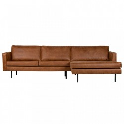 Canapea din piele cu colt Rodeo Cognac Lounge Right Be Pure Home