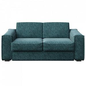 Canapea extensibila albastra din poliester si lemn pentru 3 persoane Munro Mesonica