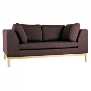 Canapea extensibila rosu bordo/maro din textil si lemn pentru 2 persoane Ambient Custom Form