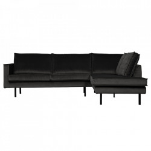 Canapea gri antracit din catifea cu colt 266 cm Rodeo Right Be Pure Home