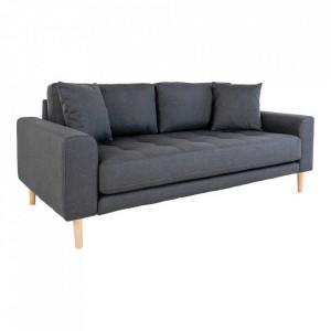 Canapea gri inchis din poliester si lemn pentru 2,5 persoane Lido House Nordic
