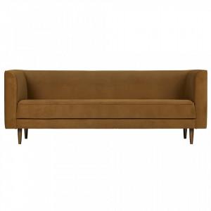 Canapea maro din catifea pentru 3 persoane Studio Cinnamon Woood