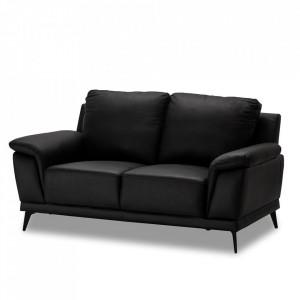 Canapea neagra din piele si metal pentru 2 persoane Dortmund Furnhouse