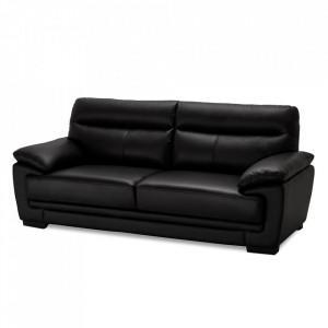 Canapea neagra din piele si metal pentru 3 persoane Siena Furnhouse