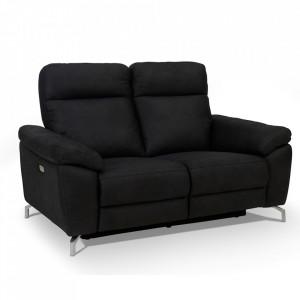 Canapea negru din poliester si metal pentru 2 persoane Selesta Furnhouse
