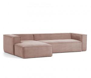 Canapea roz din catifea cu colt 330 cm Blok Left La Forma