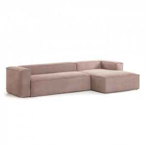 Canapea roz din catifea cu colt 330 cm Blok Right La Forma