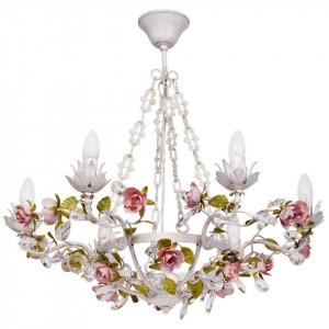Candelabru alb/auriu din metal si sticla cu 6 becuri Flora Provence MW Glasberg