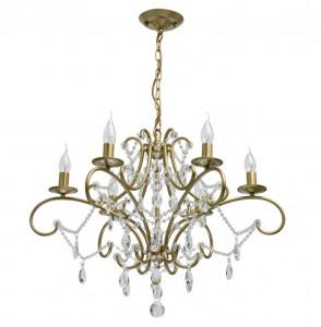 Candelabru auriu din metal si cristal cu 6 becuri MW-Light Crystal Adele MW Glasberg