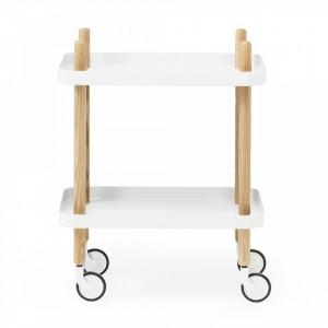 Carucior alb/maro din lemn de frasin si otel Block Table Normann Copenhagen