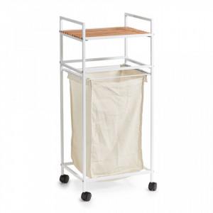 Carucior cu cos alb/maro din metal si lemn Laundry Trolley Bamboo Zeller
