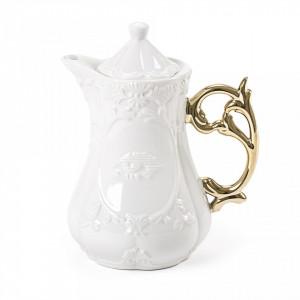 Ceainic alb din portelan 13x23 cm I-Wares Gold Seletti