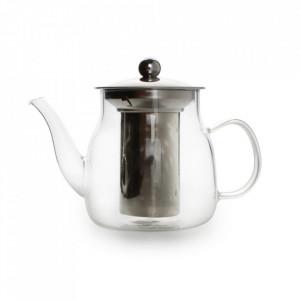 Ceainic transparent din sticla borosilicata si inox 1000 ml Diana Aerts
